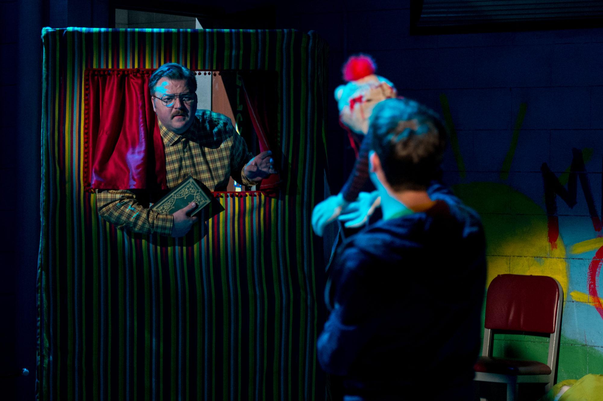 "Cory Wojcik & Tom Keenan in ""Hand to God"" (Photo by Dylan Hewlett)"